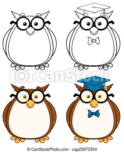 Cute Owl Character 3. Collection  - csp23970354