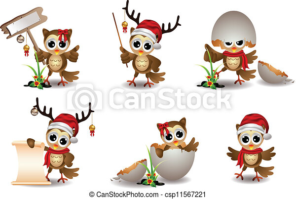 cute owl christmas cartoon set - csp11567221