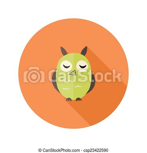 Cute Owl Flat Icon over Orange - csp23422590