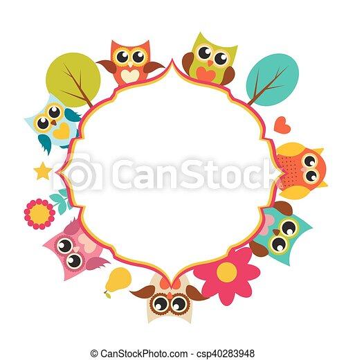 Cute owl frame background vector illustration eps10 eps vector ...