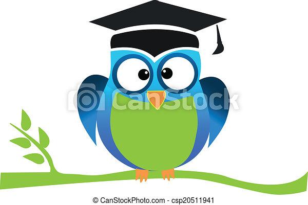 cute owl graduation logo vector of cute school and eps vector rh canstockphoto com