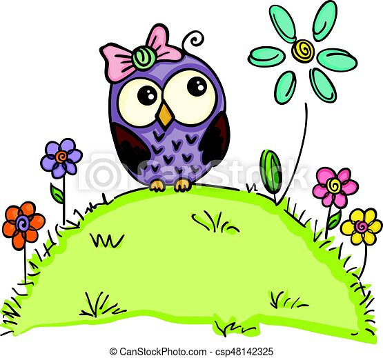 Cute owl in a garden with flowers. Scalable vectorial ...