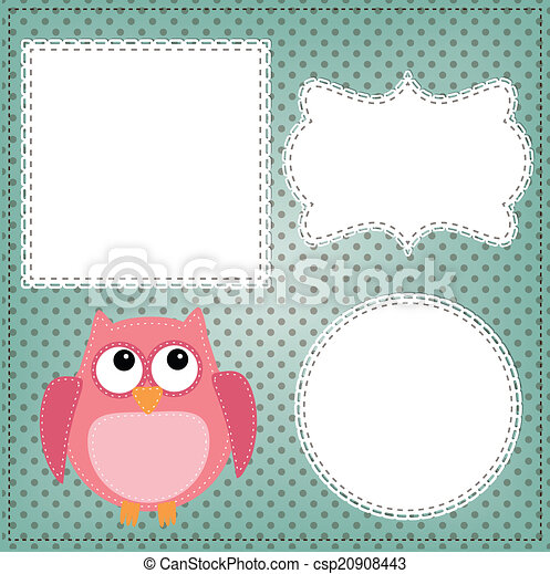 Cute owl layout with vintage lace frames - csp20908443