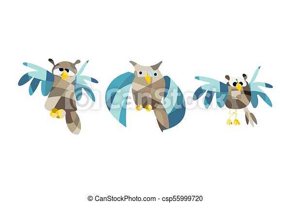 Cute Owl Pictures Vector Illustration Set Of Owls In Origami Style Low Polygon Night Owl Drawing Patchwork Geometric