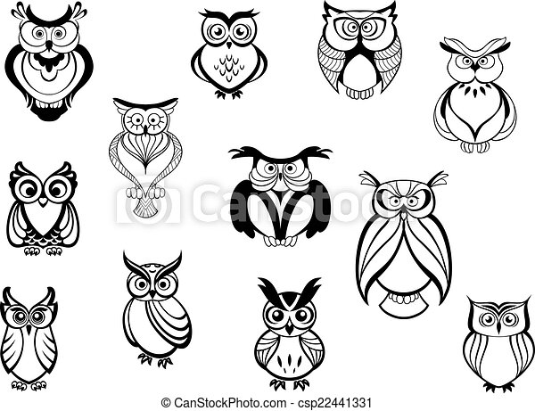ccd8d682c Cute owls and owlets set isolated on white background in cartoon ...