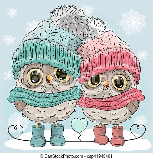 Cute owls boy and girl. Cute winter illustration two owls ...
