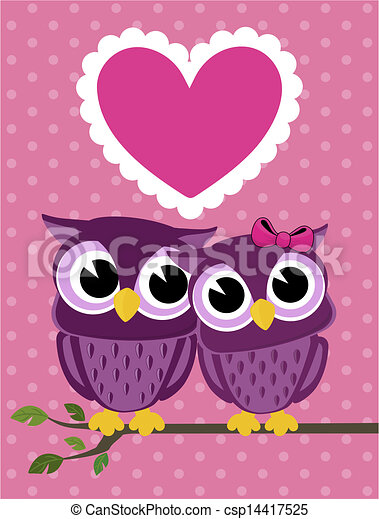 cute owls couple with love heart - csp14417525