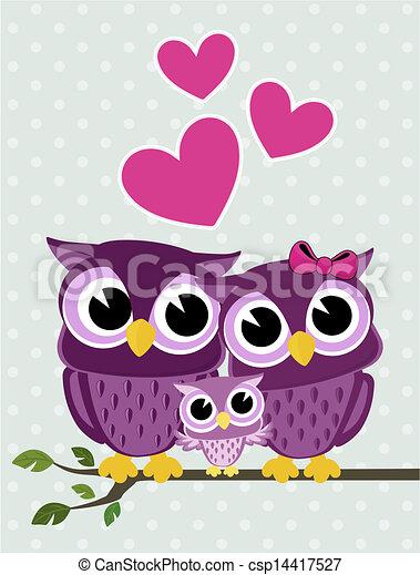 cute owls family - csp14417527