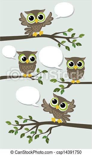 cute owls social network vector - csp14391750
