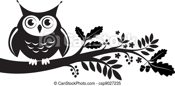 cute own on a branch. decorative leaves - csp9027235