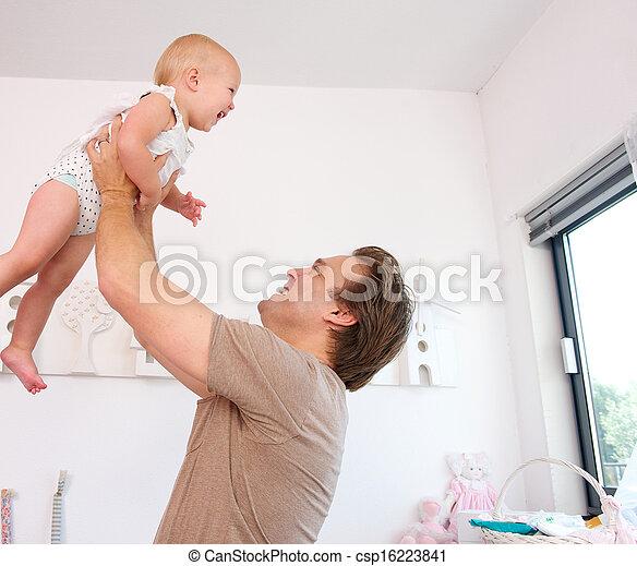 cute, pai, bebê, retrato, tocando, levantamento, amando - csp16223841
