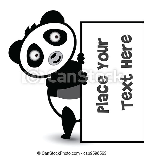 cute panda banner - csp9598563