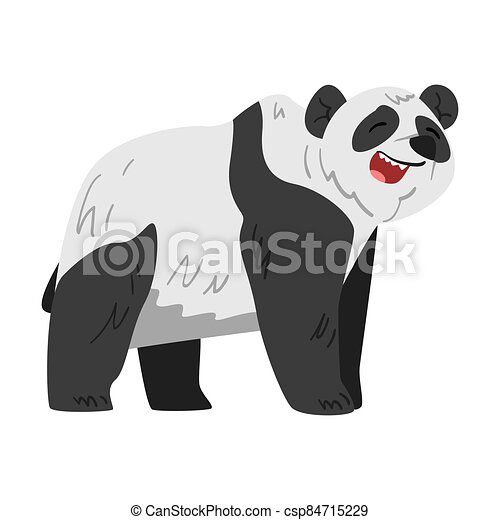Cute Panda Bear, Funny Wild Animal Cartoon Style Vector Illustration on White Background - csp84715229