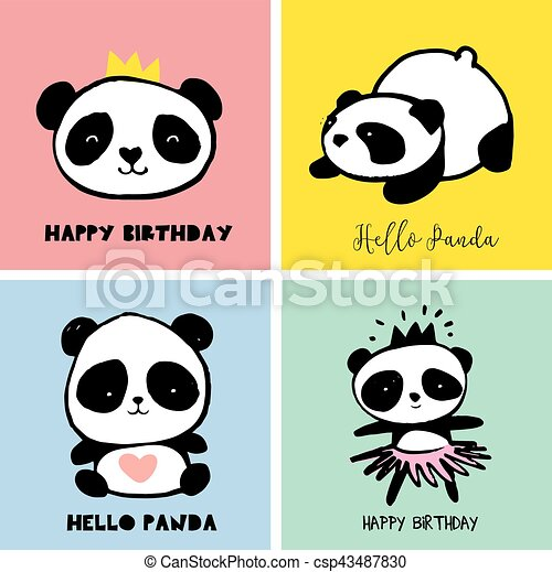 cute panda bear illustrations collection of colorful simple rh canstockphoto com cute panda head clipart cute panda clipart images