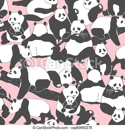Cute Panda Bear Seamless Pattern Illustration For Textile Print, Poster, Cover, Children And Nursery