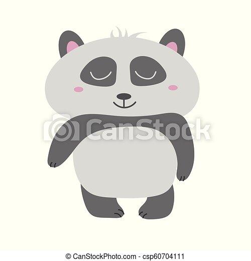 Cute Panda Bear vector illustration. Animal vector. hand drawn panda - csp60704111