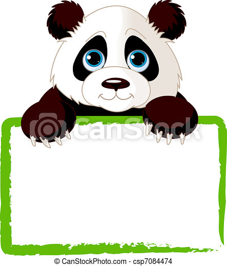 Cute Panda Card Adorable Panda Looking Over A Blank Sign