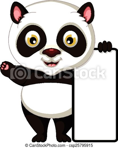 vector illustration of cute panda cartoon with board vector clip art rh canstockphoto com panda cute clipart panda cute clipart
