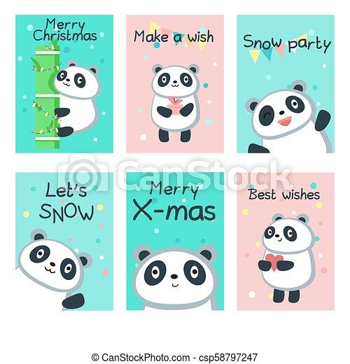 Cute Christmas Cards.Cute Panda Christmas Cards Vector Template Set