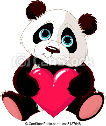 cute, panda, coração - csp8137648