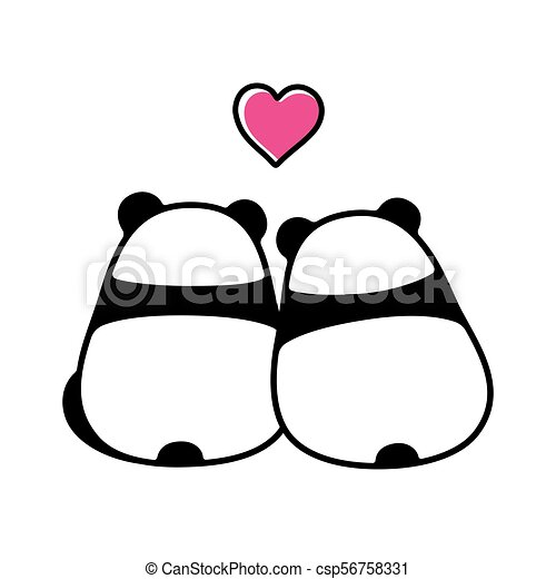 cute panda couple in love simple and minimal cartoon vectors rh canstockphoto com cute panda clipart free cute baby panda clipart
