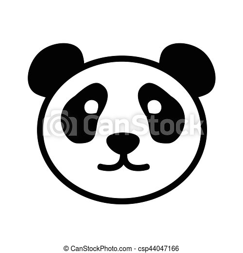 Cute panda face logo in monochrome style on white ... - photo#18