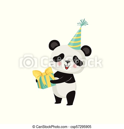 Cute Panda In Party Hat With Gift Box Paws Adorable Bamboo Bear Pink Cheeks Flat Vector