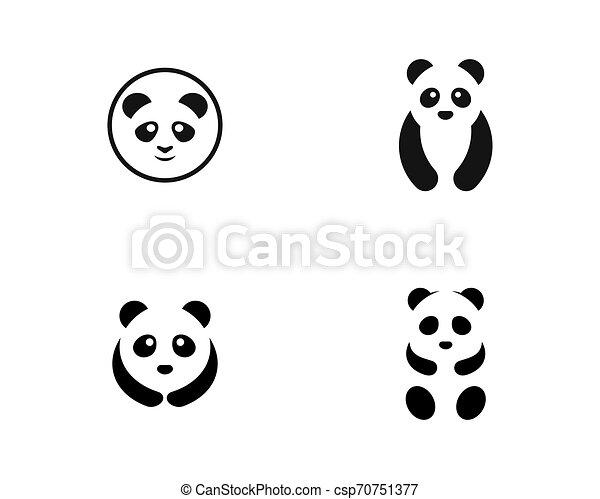 Cute panda logo template vector icon illustration - csp70751377