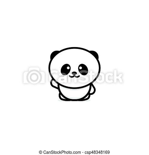 Cute Panda Welcomes Waving His Hand Vector Illustration Baby Bear Logo New Design Line Art