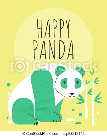 Cute panda with flowers and plants greeting card - csp63212145