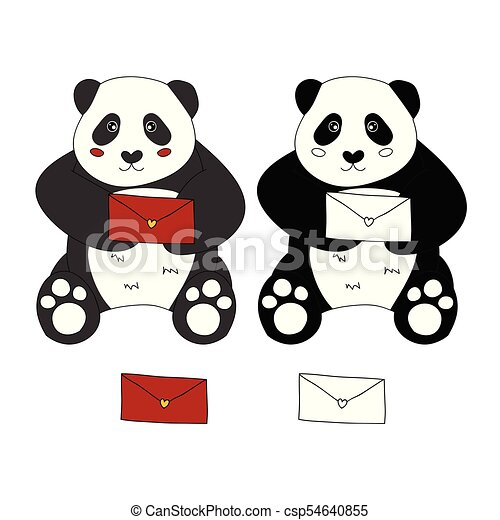 Cute Panda With Red Letter Vector Illustration