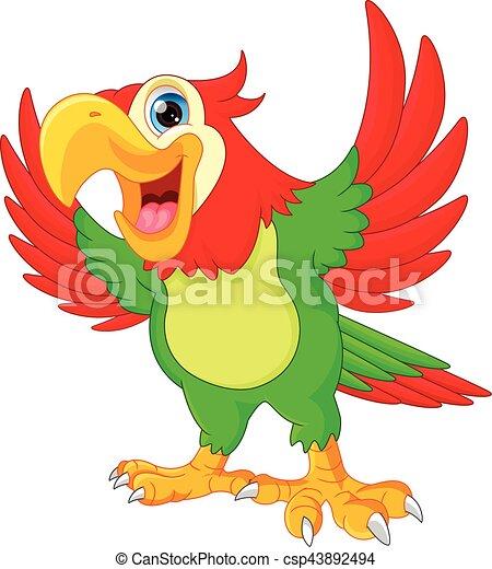 cute parrot cartoon - csp43892494