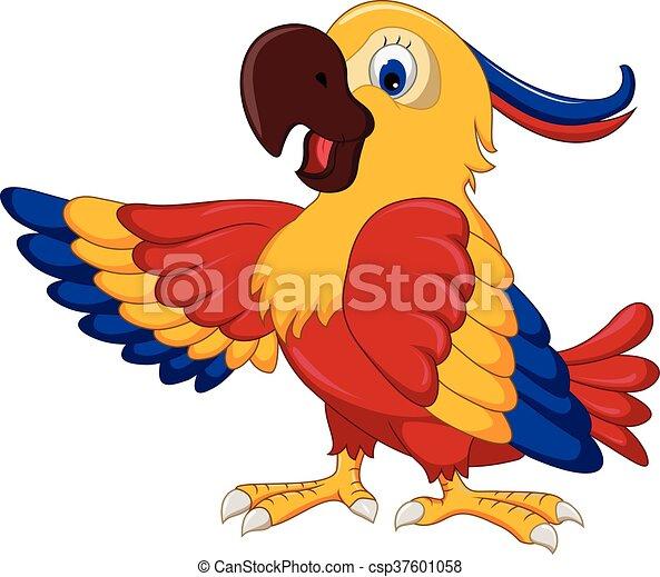 cute parrot cartoon posing - csp37601058