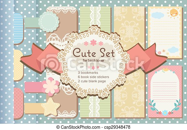 cute pastel lace bookmarks book sticker and blank paper page