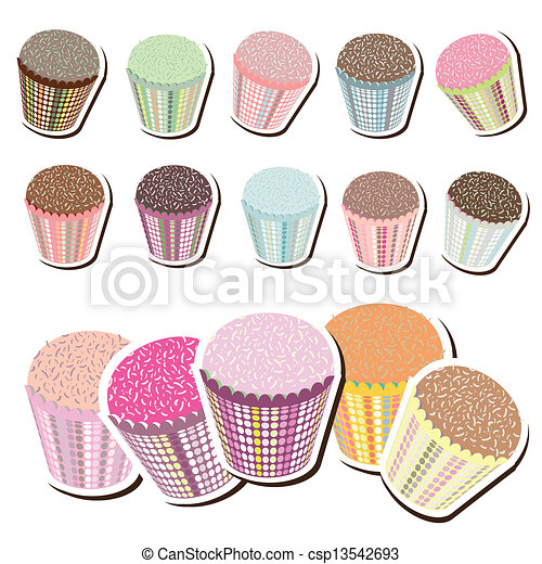 Cute Patterned Cupcakes - csp13542693