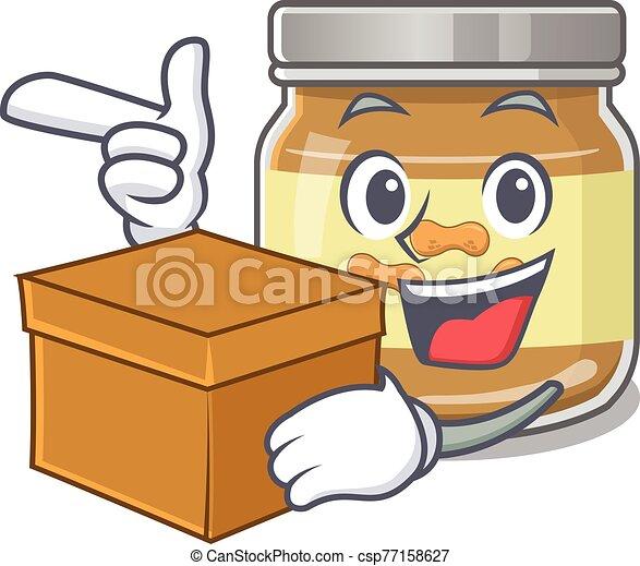 Cute peanut butter cartoon character having a box - csp77158627