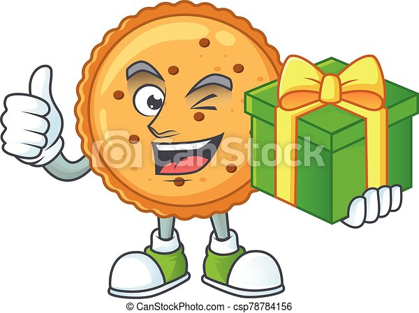 Cute peanut butter cookies character holding a gift box - csp78784156