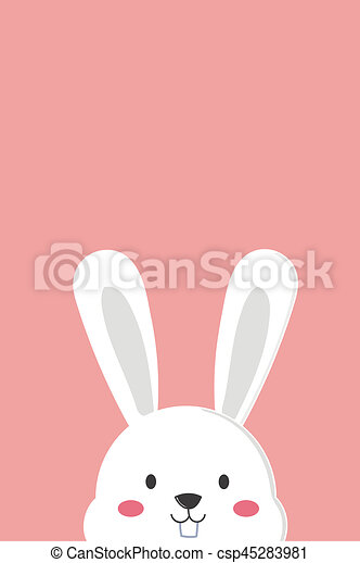 Cute Peeking White Bunny