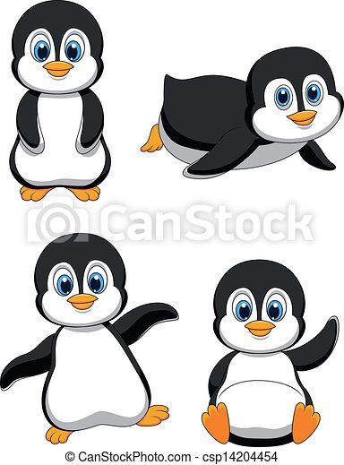 Penguin Sliding Clipart