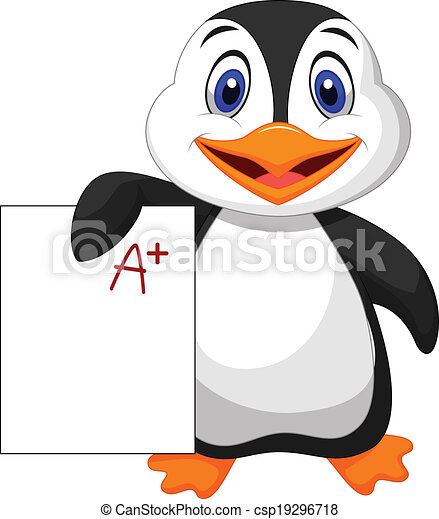 Cute penguin cartoon showing A plus - csp19296718