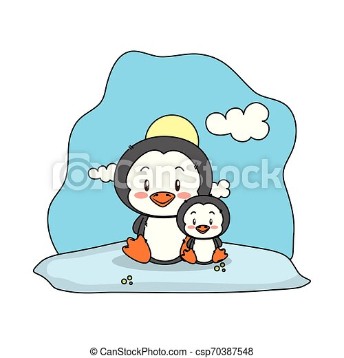 Cute Penguin Family In The Snowscape Vector Illustration Design
