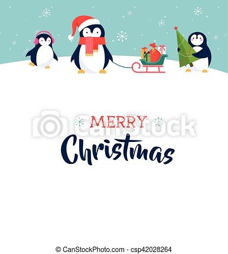 Cute penguin merry christmas greeting card clip art vector cute penguin merry christmas greeting card csp42028264 m4hsunfo