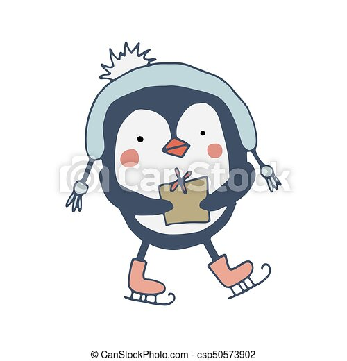Cute penguin with a gift - csp50573902