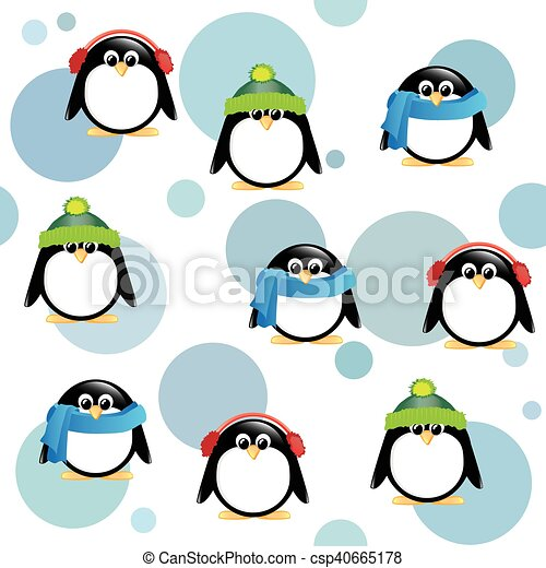 087e8afdde7152 Cute penguins on spotted background. A seamless background of cute ...