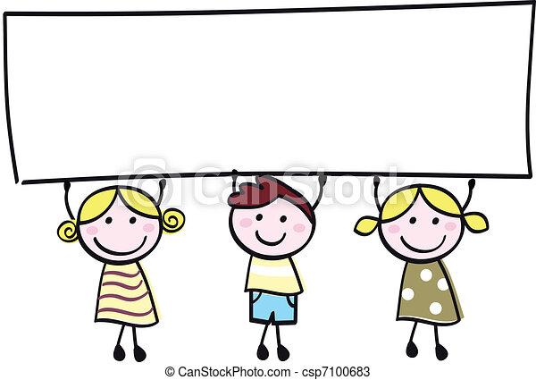 cute, pequeno, illustration., menino, meninas, -, segurando, em branco, bandeira, caricatura, vazio, feliz - csp7100683