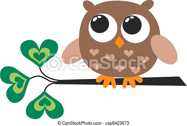 cute, pequeno, marrom, coruja - csp8423673