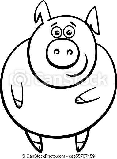 Cute Pig Cartoon Character Color Book Black And White Cartoon Illustration Of Cute Funny Pig Or Piglet Farm Animal Character
