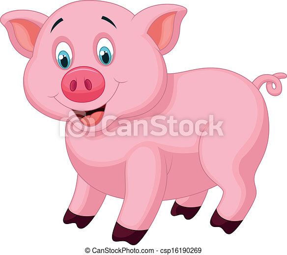 Cute pig cartoon  - csp16190269