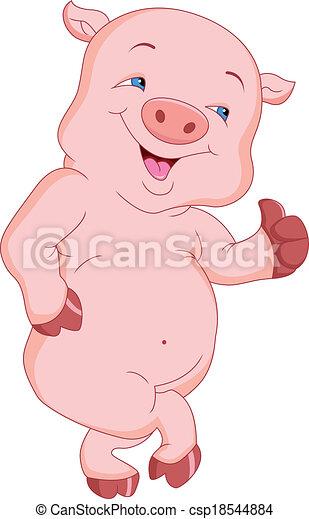 cute pig cartoon - csp18544884