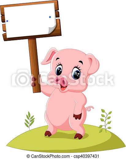 illustration of cute pig cartoon